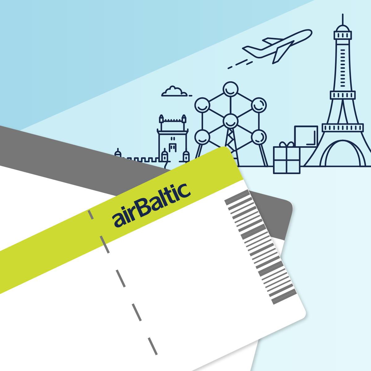 """Pristatome """"airBaltic Club"""" skrydžio el. čekį. Iškeisk taškus į skrydį! image"""