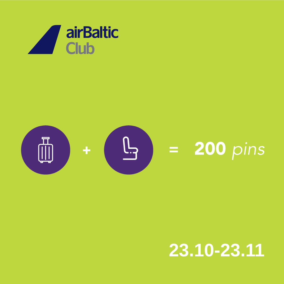Add a seat reservation or checked baggage to your booking and earn 50 bonus pins. Add both and get 200 bonus pins! image