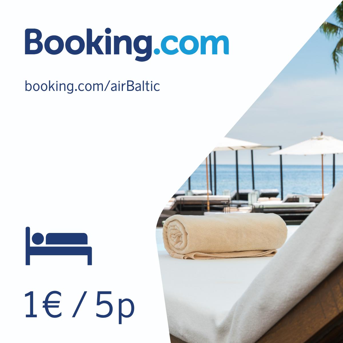 Зарезервируй жилье на Booking.com/airbaltic получи 5P/EUR! image