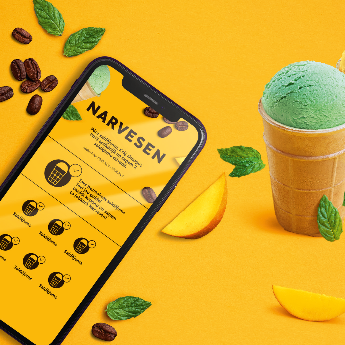Buy any ice cream at Narvesen, collect stamps in PINS app and get the 7th ice cream as a gift. image