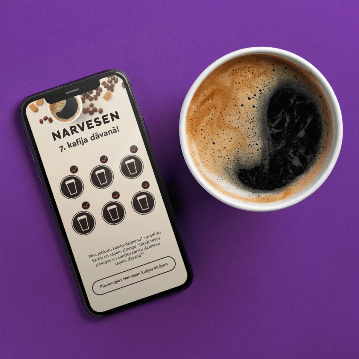 Collect Narvesen stamps in PINS app and get the 7th coffee for free! image