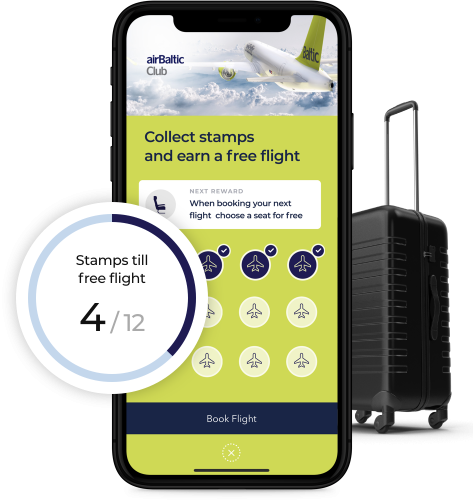 Receive stamps with valuable prizes & free airBaltic flights